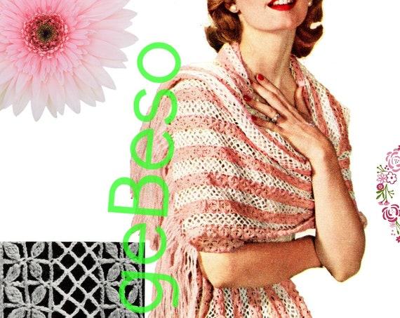 SHAWL Crochet Pattern • 1950s Crochet Pattern • Floral Design • Digital Download • PDF • Ladies Opera Wrap • Lovely Flower Shawl Fringe