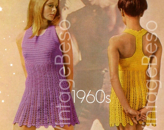 Sexy Dress Crochet Pattern • Vintage 1960s MOD T Back • Summer Sleeveless Racer Dolly Dress • Similar to Halter Dress • Watermarked PDF Only