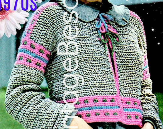 Jacket Crochet Pattern • Ladies Tambour Bolero Jacket • 1970s Vintage Crochet Pattern with Embroidery Edge • Watermarked PDF Only