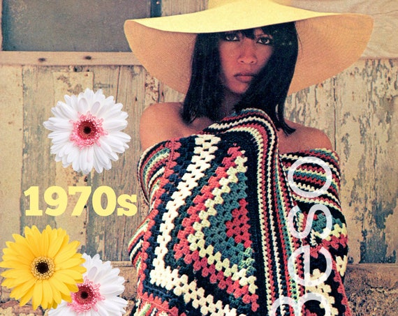Boho Afghan Crochet Pattern 70s Vintage Red White Blue Patriotic Stars Stripes Feminine Great in Man's Apartment too • Watermarked PDF Only