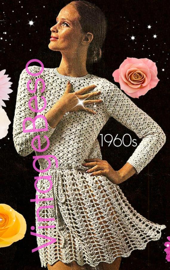 Long Sleeve Dress Crochet Pattern • Vintage 1960s Crochet Dress • VintageBeso • Sexy Mini Dress Crochet Dress Pattern • Watermarked PDF Only