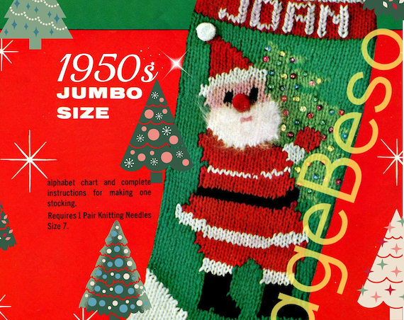 1970'S Christmas Stocking Crochet Pattern Simple Inspiration Design