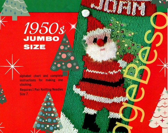 Classic Christmas Knitting STOCKING Pattern • Bucilla #7621 • Back has Two Dangling Ornaments • 1950s Vintage • Retro • Watermarked PDF Only
