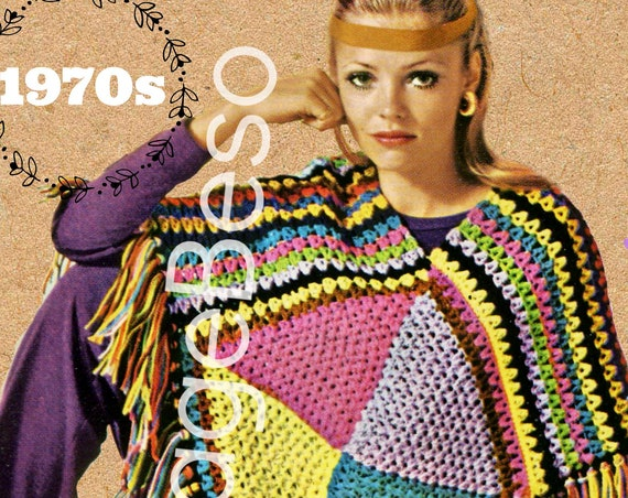 Poncho Crochet Pattern • INSTANT Download • PDF Pattern • 1970s Vintage Crochet Pattern • Boho Cover Up • Crochet Pattern
