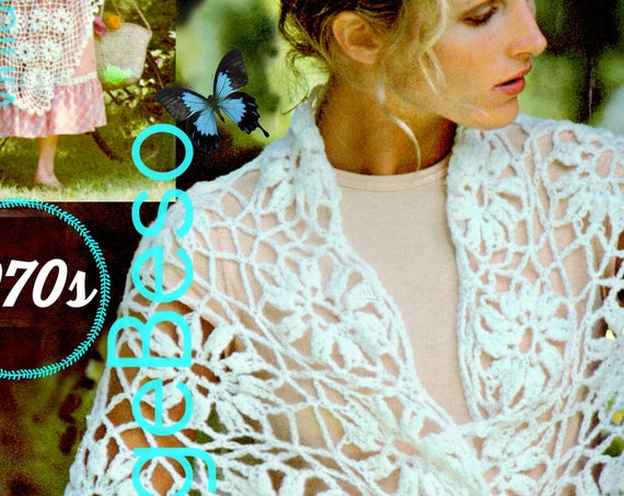 DIGITAL PATTERN • Shawl Crochet Pattern • Lovely Long Light Lacy Blossom • Flower Shawl Crochet Pattern • PdF Pattern • 1970s Vintage Wrap