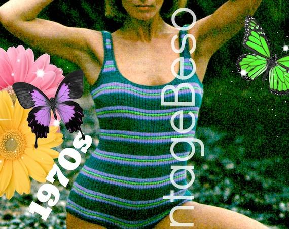 DIGITAL PATTERN • PdF Pattern • Bathing Suit KNITTING Pattern • Sexy 1970s Swimsuit Maillot • Vintage One Piece Swimwear • Sizes 8 10 12 14