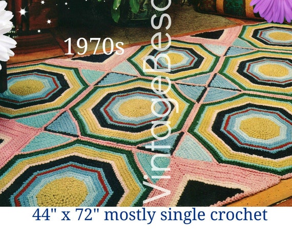 Octagonal RUG Crochet Pattern • Vintage 70s Crochet Pattern • Can also be Wall Hanging or Lap Throw • Motif • Watermarked PDF Only
