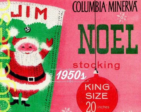 "PDF Pattern  • Christmas Stocking KNITTING Pattern • Vintage 1950s ""Jim"" Noel Stocking Pattern • Columbia Minerva • DIGItIAL PDF Pattern"