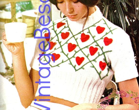 Top Knitting Pattern • Vintage 1970s Sweet Sassy Retro Hearts Crop Top with Embroidery • Sweater Pattern • Ladies Top • Watermarked PDF Only