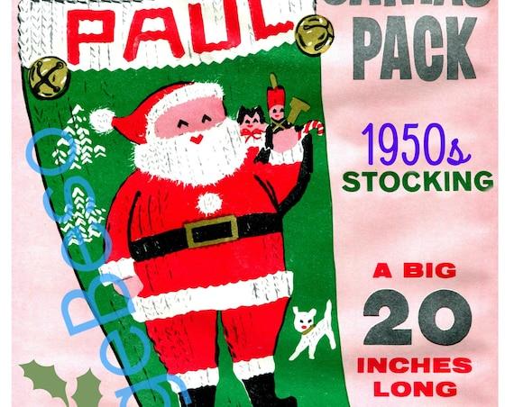 Instant Download • Paul STOCKiNG Pattern • 1950s Vintage Knit Pattern • Retro Christmas Knitting Pattern • PDF Pattern