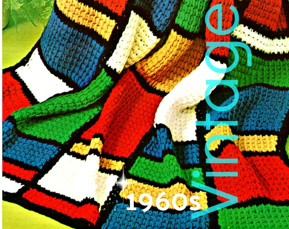 EASY Afghan Crochet Pattern • Artist Mondrian Reminiscent Stained Glass 1970s Vintage Home Decor Quick Afghan • Watermarked PDF Only