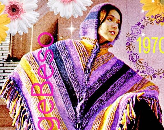 Hooded Poncho Knitting Pattern • 1970s KNITTING Pattern • PDF Pattern • Fringed Poncho Digital Pattern • Mod Modern Retro Vintage
