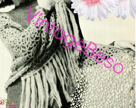 SHAWL Crochet Pattern • Easy to Crochet • Shawl In Bloom • Ladies 1970s Vintage Flower Wrap • Watermarked PDF Only