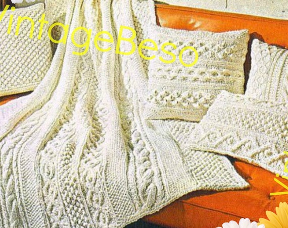 "5 Patterns • 1960s KNIT Pattern Aran Afghan Blanket + 4 Pillows: 49"" X 65"" blanket bed throw coverlet cover Knitting • Watermarked PDF Only"