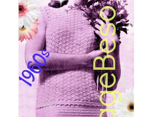 Dress Crochet Pattern • INSTANT DOWNlOAD • PdF Pattern • Shell Top and Skirt • Vintage 1960s Ladies Summer Wear is a Sleeveless Suit Dress