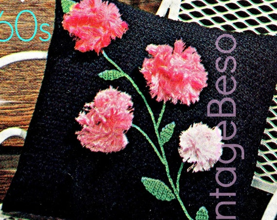 Pillow CROCHET Pattern with Carnation Flowers • 1960s Retro 3D Flowers • Instant Download • PDF • Flowers • Leaves Stems • Vintage Beso