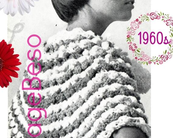 Instant Download • CAPE CROCHET PATTERN • Ladies Picot Picot Shoulder Cape • 1960s Vintage Crochet Pattern • Digital Download • PdF Pattern