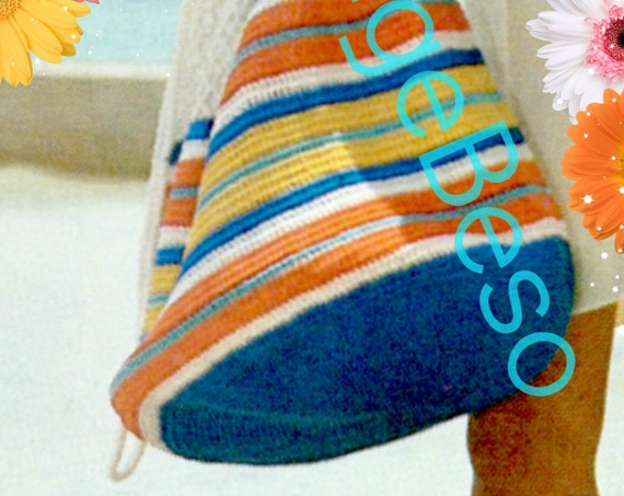 Stripe Beach Bag with Drawstring and Filet Top 1970s Vintage CROCHET Pattern Summer Necessity