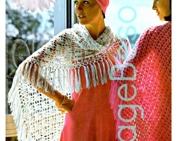 EASY Shawl Crochet Pattern (WHITE Shawl) • Retro 1970s • Retro Hippie Fan Shawl • Triangle Shawl • Lightweight evening day night • PDF Only