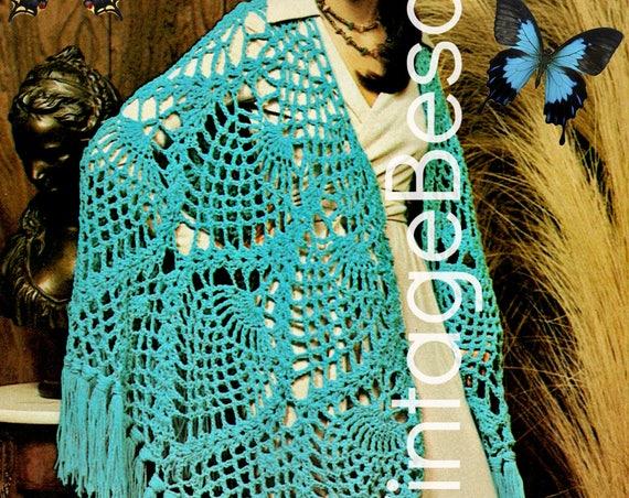 Pineapple SHAWL Crochet PATTERN 1970s Ladies Feminine Boho Hippie Festival Vixen Pineapple Universal Sign Hospitality • Watermarked PDF Only