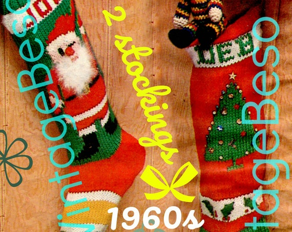 "Instant Download • 2 Patterns • Knit Christmas STOCKING Patterns • Vintage 1960s ""Santa"" Stocking and ""Tree"" Stocking Pattern • Bucilla"