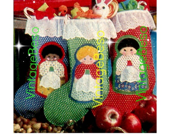 STOCKING Sewing Pattern • EASY to Make SEWING Doll Pattern • Asian Black White • Ornaments 6 variations • Christmas Angel for top of tree