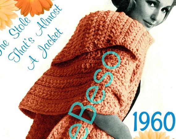 Jacket Crochet Pattern • 1960s Stole Crochet Pattern • Easily goes from Mad Men to Boho • INSTANT Download • PDF Pattern • Feminine Fun