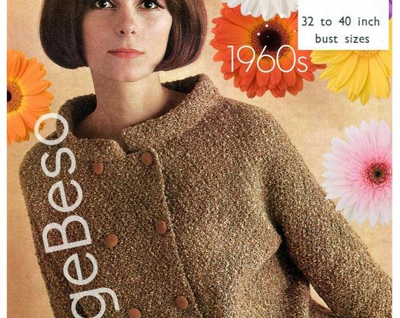 Mod Dress Knitting Pattern is Jacket + Skirt = Suit 1960s Vintage Pattern Ladies Stylish Fashion Pattern • Watermarked PDF Only