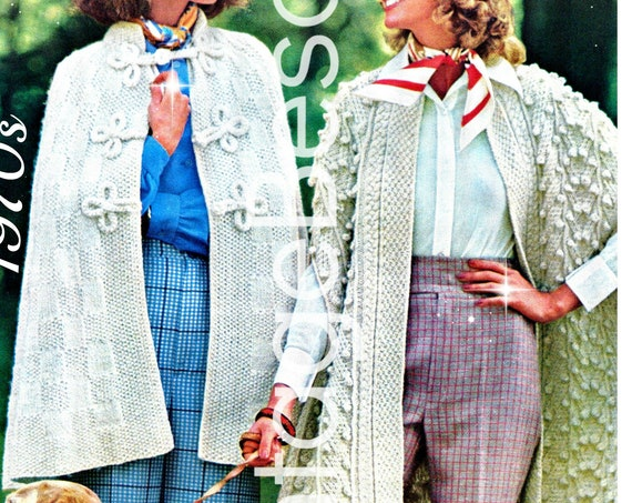 2 Patterns • CAPE Knitting Pattern • PDF •  Vintage 1970s • Easy Checkerboard Cape + Experts Only Irish Cape Pattern • Digital Download