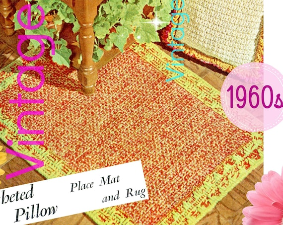 1960s Vintage Crochet Pattern • Pillow + Place Mat + Rug • Matching Set to Show Off Your Organizational Style • Watermarked PDF Only