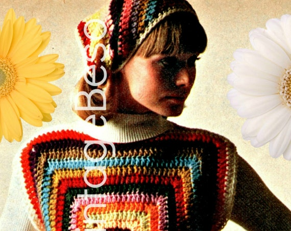 3 EASY Crochet Patterns Granny Square • Cape Crochet Pattern • Vintage 1970s Headscarf + Top + Sweater • Watermarked PDF Only