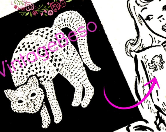 Cat Crochet PATTERN • Vintage 1940s Cat Applique • Cat Ornament • Crochet Cat Applique Pattern • Cat Lover Birthday • Watermarked PDF Only