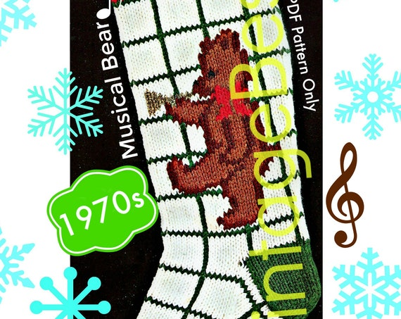 """Instant Download • RARE Stocking Knitting Pattern • Vintage 1950s """"Musical Bear"""" • Vintage Bucilla Classic Christmas • Watermarked PDF Only"""