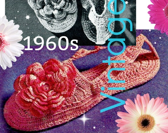 Slippers Crochet Pattern • Rosy Posy Slippers • 1960s Vintage • Small Medium Large • PdF Pattern • Retro House Shoes • Watermarked PDF Only