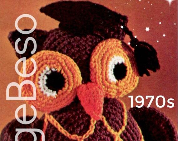 EASY to CROCHET • Owl Crochet Pattern • Vintage 1970s Stuffed Toy Owl Pattern Retro Amigurumi Bird Graduation Professor Watermarked PDF Only