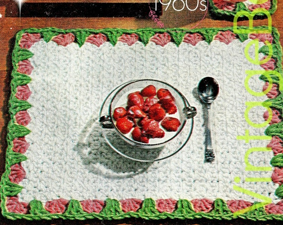 2 EASY Crochet Patterns • Strawberry Placemat + Coaster Crochet Pattern • 1960s Brunch Set • Retro Home Decor • Valentine's Day • PDF Only