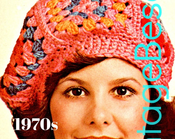 EASY Beret Crochet Pattern • Vintage 1970s • Cap Crochet Pattern • Granny Square Hat • Crochet Pattern • Watermarked PDF Only