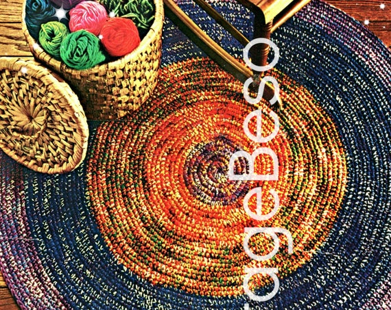 EASY RUG Crochet Pattern • Vintage 1970s • Round and Round Rug • Retro Pattern • Kitchen Bedroom Living Room • Instant Download • PDF Only