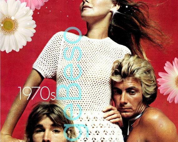 Dress CROCHET PATTERN • Sexy Dress Crochet Pattern • 1970s Retro Crochet Pattern • Sweet Peekaboo Ladies Summer Dress • Watermarked PDF Only