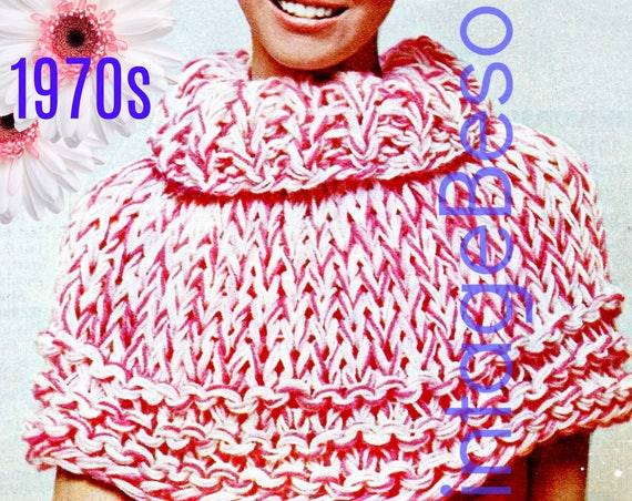 Ladies Peppermint Stick Cape Collar • 1970s Vintage KNITTING Pattern • Womens Retro Sweater Cape • Watermarked PDF Only