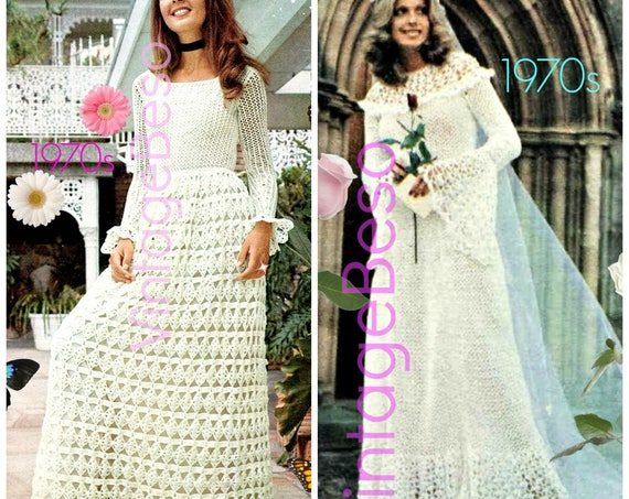 Instant Download • Maxi Dress CROCHET + KNITting Pattern Vintage 1970s Maxi Dress FREE Pattern Medival Wedding Dress • Watermarked PDF Only