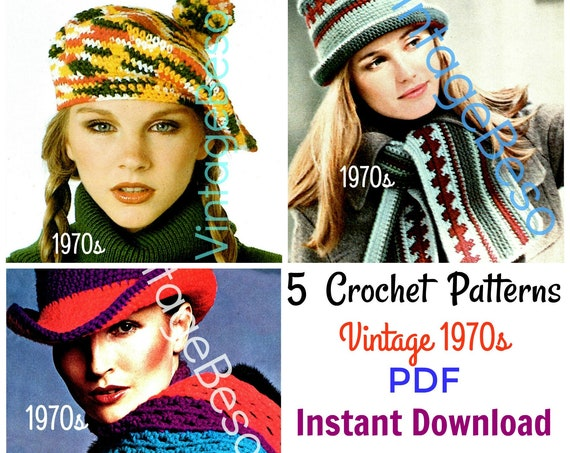 5 Crochet Patterns • Vintage 1970s Beret with PomPom + Houndstooth Hat and Scarf Set + Brimmed Hat and Scarf Set • Watermarked PDF Only