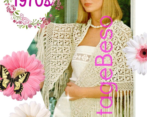 Shawl CROCHET Pattern • 1970s Lacy spider web shawl Lace Cover Up Bohemian Hippie • Vintage Crochet Pattern • Watermarked PDF Only