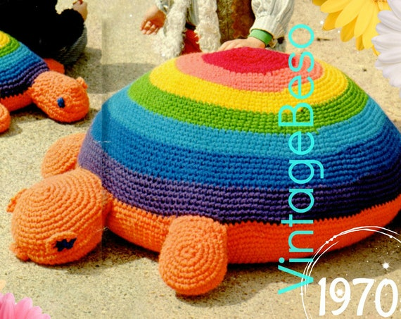 EASY Turtle Crochet Pattern • Floor Pillows •  2 Crochet Patterns • Vintage Turtle Floor Pillow for TV • Vintage 70s • Watermarked PDF Only