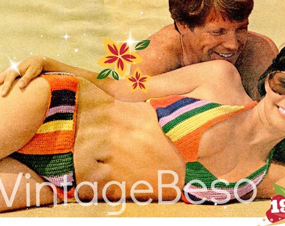 EASY Striped Bikini Crochet Pattern • 1970s Swimsuit Crochet Pattern Ladies Bikini Bra Top Panty Brief Pants • Watermarked PDF Only