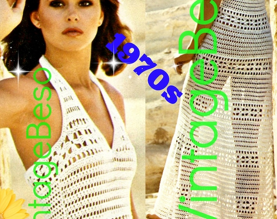 Sexy Backless Maxi Dress Crochet Pattern • Shorten for a Mini Dress or use as Beach Bikini Coverup • Vintage 1970s • Watermarked PDF Only
