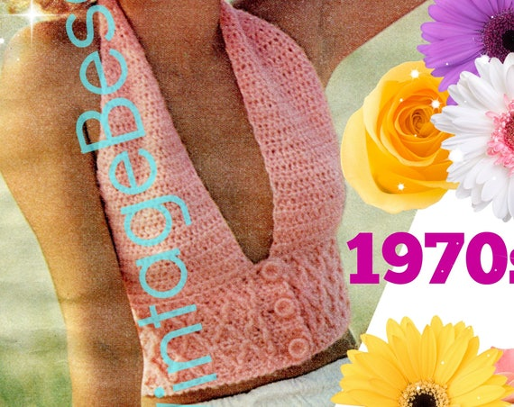 3 Button Smocked Halter • 1970s Vintage Crochet Pattern • Ladies Retro Sexy Top • Watermarked PDF Only