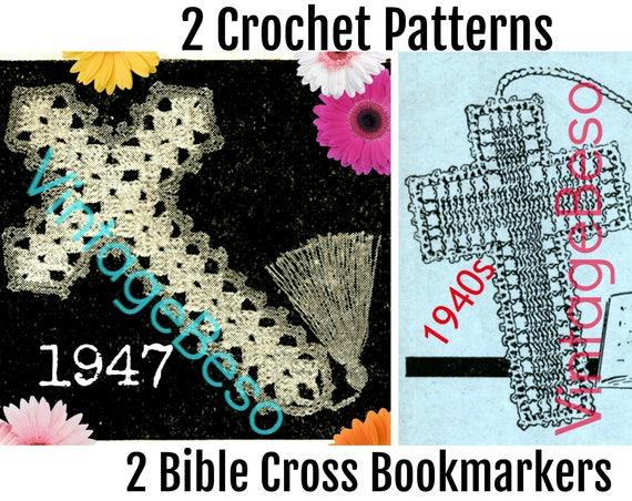 1940s Bible Cross Bookmark Crochet Pattern • Vintage Crochet Bible Cross • Bible Bookmark • Vintage Crochet Pattern • WATERMARKED PDF Only
