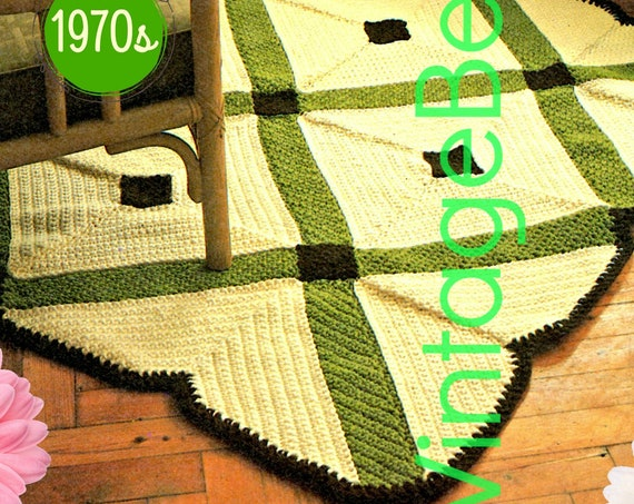 Diamond Area Rug Crochet Pattern • 1970s Vintage Crochet Pattern • Decor Style Inspired by Italian Mosaic Tiles • Watermarked PDF Only