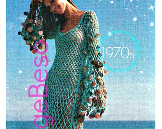 Sea Goddess Vixen Beach Dress • Vintage Crochet Pattern • CoverUp Crochet Pattern • 1970s Fishnet Style Maxi Dress • Watermarked PDF Only